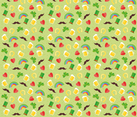 Saint Patricks Day Cute Boots, Coins, Clover, Rainbow, Beer, Mustache, Hearts St. Patricks Day fabric by khaus on Spoonflower - custom fabric