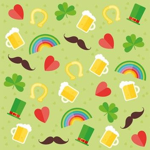 Saint Patricks Day Cute Boots, Coins, Clover, Rainbow, Beer, Mustache, Hearts St. Patricks Day