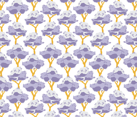 Lemon trees in purple and yellow fabric by lburleighdesigns on Spoonflower - custom fabric