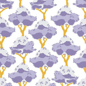 Lemon trees in purple and yellow