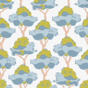 Lemon trees in blue and green