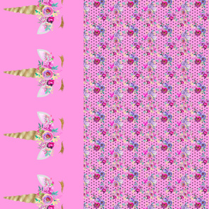 Two Unicorn Panels  Bouquets Polka Dots 2 Pink