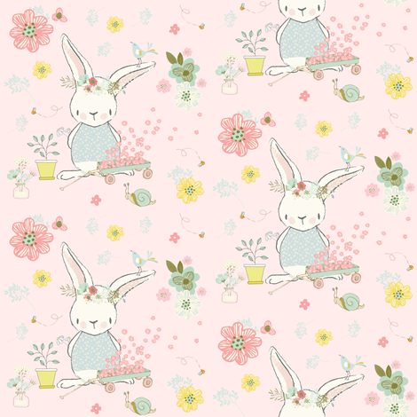 "4"" Garden Bunny / Pink fabric by shopcabin on Spoonflower - custom fabric"
