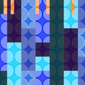 blue rectangles & circles with orange