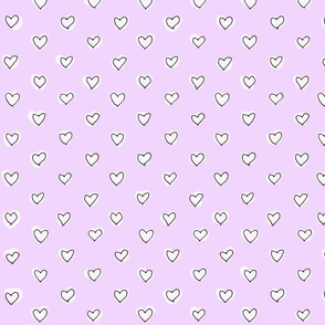Sketched Hearts in pink.purple