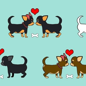 Chihuahuas Love Couples aqua M