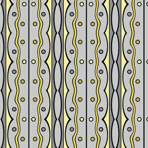 Mod Squiggles in Gray and Yellow