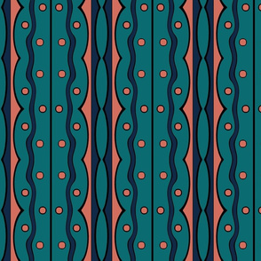 Mod Squiggles in Navy, Coral and Teal