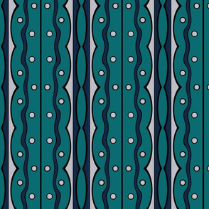 Mod Squiggles in Navy and Teal