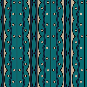 Mod Squiggles in Teal, Navy Blue and Tan