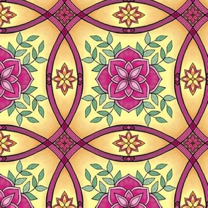 Spanish tiles pink flowers