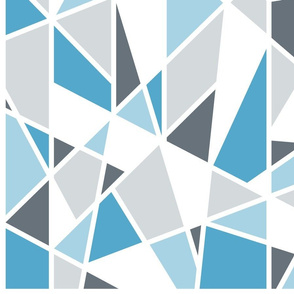 Large Geometric Pattern in Blues, Gray and White