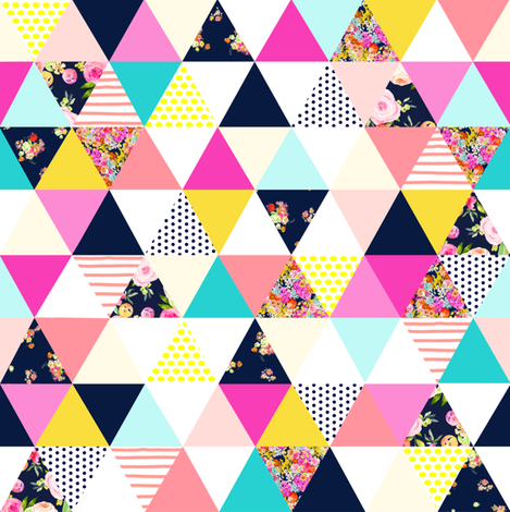 Colorful Summer Floral Triangle (SMALL print) fabric by theartwerks on Spoonflower - custom fabric