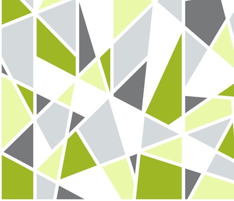 Geometric Pattern in Lime Green, Yellow and Gray fabric by mel_fischer on Spoonflower - custom fabric