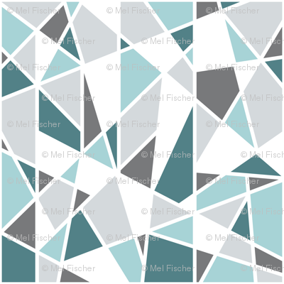 Geometric in Teal, Turquoise and Gray