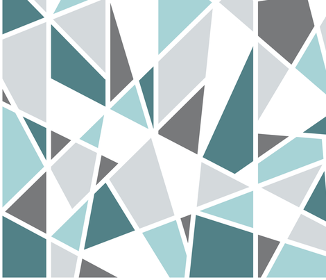Geometric in Teal, Turquoise and Gray fabric by mel_fischer on Spoonflower - custom fabric