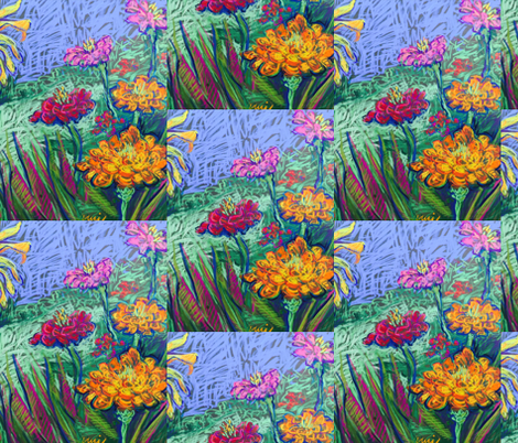 Zinnias in the Garden fabric by artistannie on Spoonflower - custom fabric