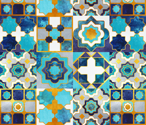 Spanish tiles inspiration // normal scale // turquoise blue golden lines fabric by selmacardoso on Spoonflower - custom fabric