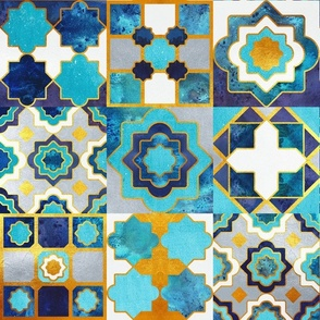 Spanish tiles inspiration // normal scale // turquoise blue golden lines