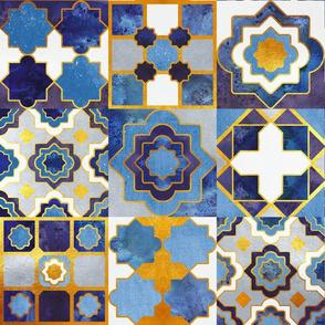 Spanish tiles inspiration // indigo blue golden lines