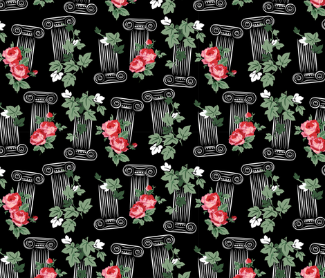 Greek columns - black fabric by tuppencehapenny on Spoonflower - custom fabric
