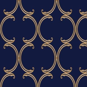 Faux Gold on Navy Blue Moroccan Lattice