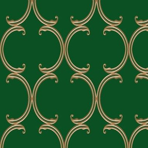 Faux Gold on Green Moroccan Lattice