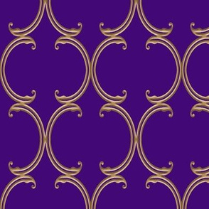 Faux Gold on Purple Moroccan Lattice