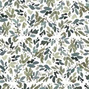 Blue Green Leaves on White