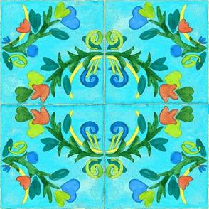 Spanish Tile Aged Floral