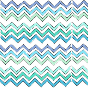 Sketched Chevron in blue & green