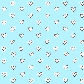 Sketched Hearts in blue