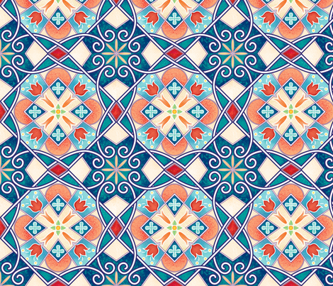 Rowena-Wilson-Spanish-Spring-Tile fabric by rowena_lynn_designs on Spoonflower - custom fabric