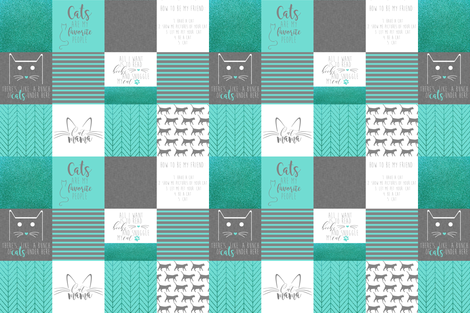 "6"" #CatMom Faux Quilt Mint & Gray fabric by mnutt1 on Spoonflower - custom fabric"