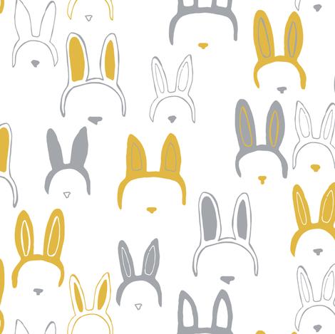 Bunny ears in mustard yellow fabric by lburleighdesigns on Spoonflower - custom fabric
