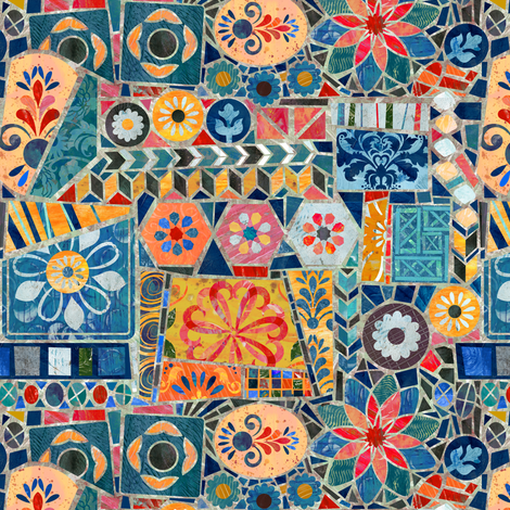 Gaudi Style Mosaic Tiles fabric by sarah_treu on Spoonflower - custom fabric