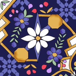 Night Flower Spanish Tiles