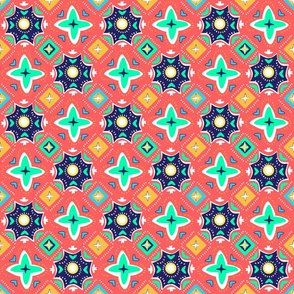 Mosaic Geometric Spanish Tile  - Coral/Navy/Ocha/Green