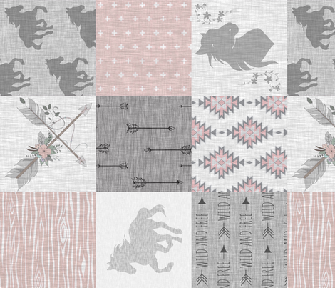 BoHo Horse Quilt - pink and grey - ROTATED fabric by sugarpinedesign on Spoonflower - custom fabric