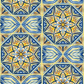 Golden Sunset Stars Terrace Tiles - Large Scale