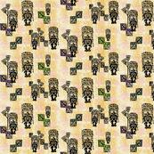 Tiki Fabric w flower yello-001