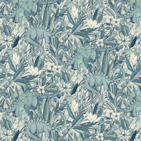 Small scale improbable botanical with dinosaurs blue for Grey dinosaur fabric
