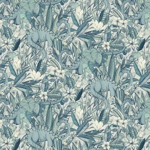 Small scale Improbable Botanical with Dinosaurs - blue grey