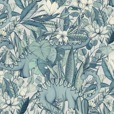 Medium scale Improbable Botanical with Dinosaurs - blue grey fabric by micklyn on Spoonflower - custom fabric
