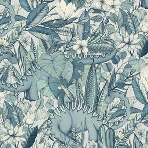 Medium scale Improbable Botanical with Dinosaurs - blue grey
