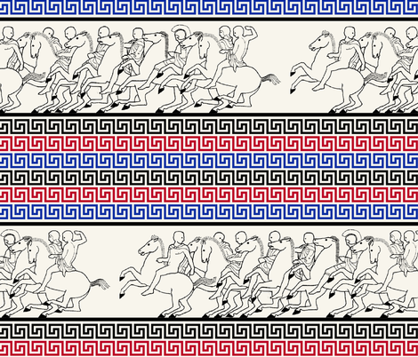 Greek keys with horse races, on marble, by Su_G fabric by su_g on Spoonflower - custom fabric