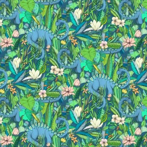 Small scale Improbable Botanical with Dinosaurs - blue green and blush pink