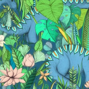 Large scale Improbable Botanical with Dinosaurs - blue green and blush pink
