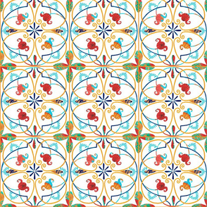 Pattern #80 - Spanish tiles  with joyful weaving