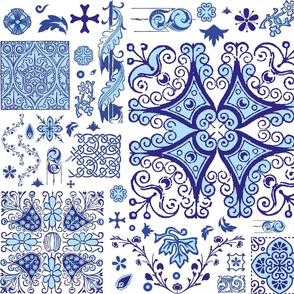 Blue Ornament Spanish tiles SpoonFlower